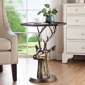 Deer Bust End Table