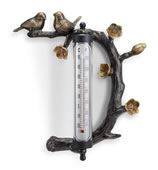 Lovebird Pair Wall Mounted Thermometer