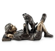 Impatience Boy with Puppy Garden Sculpture
