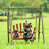 Bear and Cubs on Porch Swing Garden Sculpture