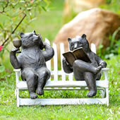 Hipster Bears on Bench Garden Sculpture