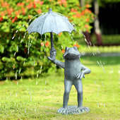 Frog With Umbrella Garden Spitter