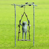 Daredevil Frog on Swing Garden Statue