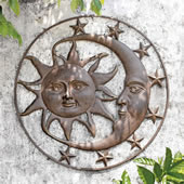 Celestial Splendor Sun and Moon Wall Plaque