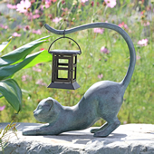 Stretching Cat LED Garden Lantern