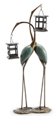 Stylized Crane Pair LED Garden Lantern