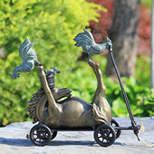 Barnyard Racer Pull Along Garden Statue (Horse, Duck and Chickens)