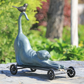 Stretching Cat and Bird Pull Along Garden Statue