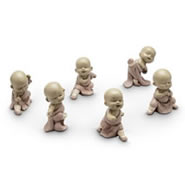 Fighting Mini Monk Figurines, Set of 6