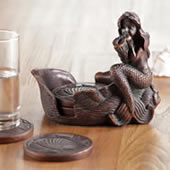 Mermaid and Coaster Set With Holder