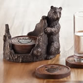 Bear and Paw Coaster Set with Holder