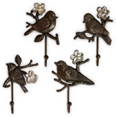 Bird and Cherry Blossom Wall Hooks- Set of 4