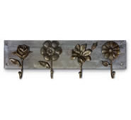 Flowers on Wood Wall Hook