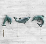 Dolphin Single Wall Hooks Set of 3
