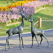 Woodland Watchers Deer Garden Sculptures, Set of 2