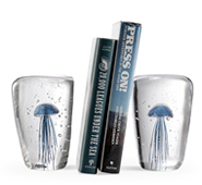 Art Glass Blue Jellyfish Wedge Bookends Pair - Glow in the Dark