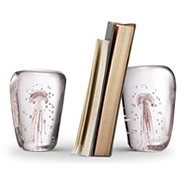 Art Glass Pink Jellyfish Wedge Bookends Pair - Glow in the Dark