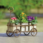 Rustic Wagon Planter Stand