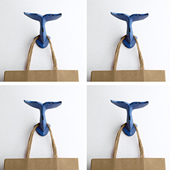 Whale's Tail Wall Hooks, Set of 4