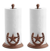 Lone Star and Horseshoe Paper Towel Holders, Pack of 2