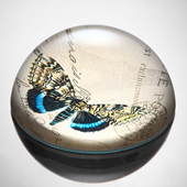 Art Glass Blue and Yellow Butterfly Paperweight