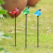 Glass Bird Garden Stakes, Set of 3