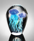 Dark Blue Glass Jellyfish Duo, Glow in the Dark