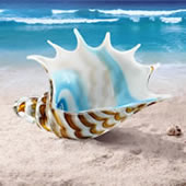 Art Glass Striped Conch Shell