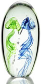 Art Glass Blue and Green Jellyfish- 6.5 inch