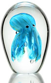 Art Glass Deep Blue Octopus Statue/Paperweight
