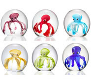 Art Glass Octopus Mini Paperweights, Set of 6