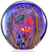 Art Glass Blue Sea Scene with Jellyfish, Glow in the Dark