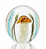 Art Glass Brown Jellyfish Paperweight