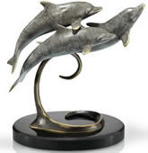Triple Dolphins on Marble Base