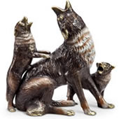 Desert Howlers Coyote and Cub Statue