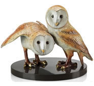 Wise Pair Barn Owls Statue