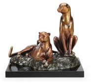 Alert Cheetah Pair Statue