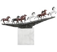 Running Mustangs Sculpture, Marble Base