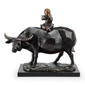 Contemplation Flutist on Bull Sculpture