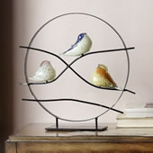 Art Glass Bird Trio Desk Decor