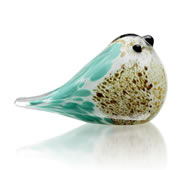 Art Glass Blue and Brown Bird