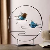 Art Glass Bird Pair Desk Decor