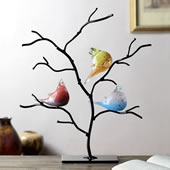 Art Glass Bird Trio on Tree