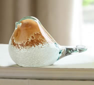 Art Glass Orange and White Bird Figurine