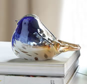 Art Glass Blue White and Gold Bird Figurine