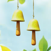 Ceramic Yellow Mushroom Windbell, Set of 2