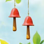 Ceramic Red Mushroom Windbell, Set of 2