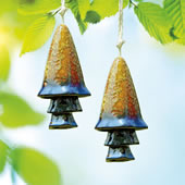 Ceramic Blue Banded Mushroom Windchime, Set of 2