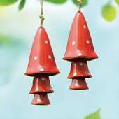 Ceramic Red Mushroom Windchime, Set of 2