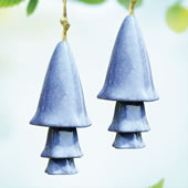 Ceramic Blue Mushroom Windchime, Set of 2